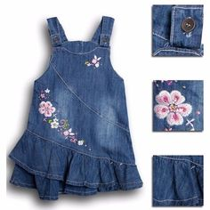 Buy Summer Denim Embroidery Floral Baby Kids Girl Toddler Straps Ruffle Dress Clothes at Wish - Shopping Made Fun Toddler Dress, Toddler Outfits, Baby Dress, Toddler Girl, Kids Outfits, Baby Kids, Baby Baby, Jean Overall Dress, Jeans Overall