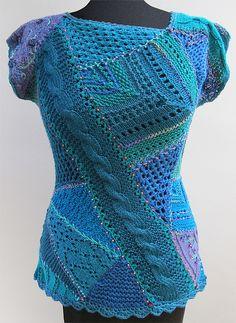 Excelente combinación de puntadas, tanto de agujas como de crochet. Un verdadero reto.