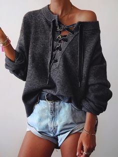 Solid Eyelet Lace-Up Elastic Hem Knitted Sweater - Dark Grey