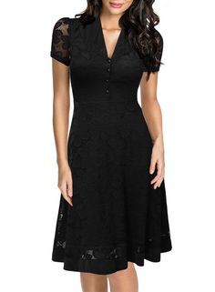 IHOT 2017 Laides vestidos oficina Women Summer V Neck Button Patchwork Cap  Sleeve Audrey Hepburn Style Vintage dresses 47ad250bd