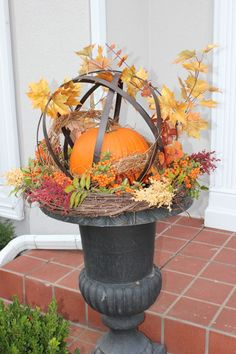 Urn with orb, pumpkin, grapevine wreath and fall picks. Harvest Decorations, Thanksgiving Decorations, Seasonal Decor, Garden Spheres, Autumn Garden, Garden Fun, Fall Containers, Fall Arrangements, Fall Planters