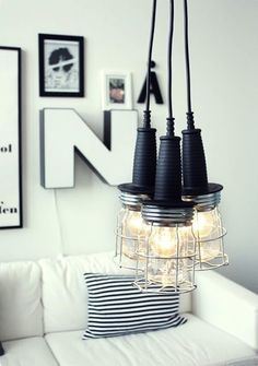 I love unique lighting! I did a little digging and found 10 amazing modern DIY lighting projects you can can tackle this weekend! Lampe Industrial, Industrial Style Lighting, Home Lighting, Lighting Design, Modern Industrial, Lighting Ideas, Industrial Apartment, Industrial Design, Funky Lighting