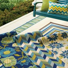 Cayman Outdoor Chevron Rug Teal And Citrine And Navy. THE Colors Of Spring  And Summer