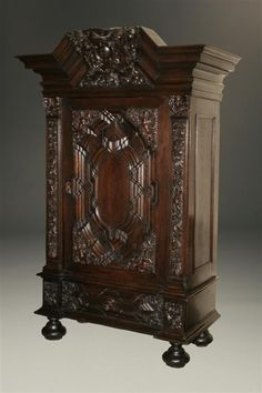 ~ German Oak Armoire Carved, Great Crest with Lions ~ beauchampantiques.com