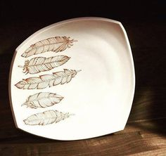 Large squared porcelain dinner plate with white glaze and boho feathers by Emily Murphy Pottery on Etsy