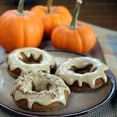 Whole Grain Maple Pumpkin Spice Baked Donuts (theyummylife.com) + a nice big cuppa + a patio/balcony/porch + a crisp autumn morning...WIN.