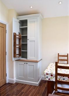 Larder Cabinet with walnut racks and worktop, painted in F&B . Alcove Shelving, Storage Shelves, Fitted Wardrobes, Larder, Sit Back And Relax, Cabinet Makers, Work Tops, Kitchen Storage, Cupboard