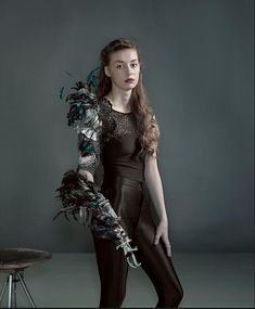 """""""Feather Armour"""" co-created by Sophie de Oliveira Barata and Rowena Vickerman for Alternative Limb Project. Photography by Nadav Kandar for The New York Times"""