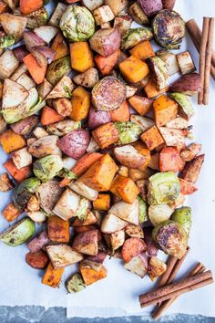 These maple cinnamon roasted veggies are an easy side dish with a hint of sweetness. Perfect as a side dish for easy weeknight meals!