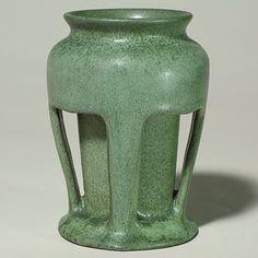 "teco pottery   391: Arts & Crafts pottery vase, Teco style, 8"""