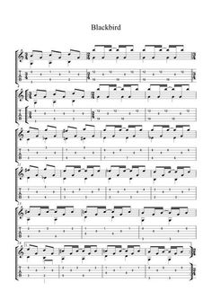 The Score for Blackbird by The Beatles #guitarlessonsonline #teachingguitarlessons