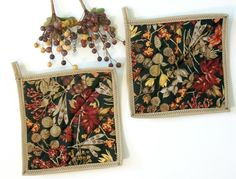 Autumn Pot Holders Fall Leaves Quilted Set by NeedlesnPinsStichery, $8.50