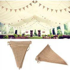 Lot de 3 guirlandes fanions bannière en toile de jute décoration mariage champêtre rétro chic bohème : Décorations murales par mariagedesign-as