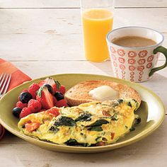 Spinach and cheese omelette - one of Charlie's favorite meals!
