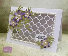 Card made using Crafter's Companion Sara Signature Floral Delight - Thinking of You Stamp set, Sara Signature Floral Delight - Pretty Petals, Sara Signature Floral Delight - Leafy Flourish, Sara Signature Floral Delight - Ornate Trellis, Iridescent Spray and Sparkle, Centura Pearl, Die'sire Ovals, 3D Glue,Tacky Glue. Made by Liz Walker