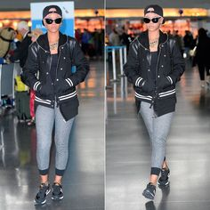 Rihanna wearing Saint Laurent leather-trimmed varsity jacket, Rick Owens leather detail cotton zip hoodie, New Balance WL501 sneakers.