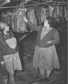 Drying Salmon at Celilo Falls, 1952