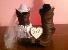 Cake Topper for western wedding cowboy boots for bride and groom with initialed heart