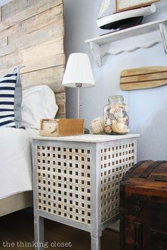 IKEA Hacked HOL Side Tables, part of a Rustic Nautical Master Bedroom Makeover via thinkingcloset.com-85