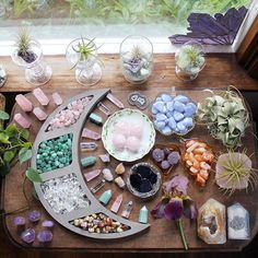 Everything shown here is available, tap this photo for easy shopping 💜! Moon shelf is from my friend and the stained glass… Healing Crystals For You, Crystal Healing Stones, Crystal Magic, Crystal Grid, Stones And Crystals, Crystal Decor, Crystal Jewelry, Crystal Altar, Minerals And Gemstones