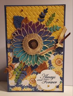Best Wishes Card, Sunflowers And Daisies, Sunflower Cards, Cards For Friends, Friend Cards, Fall Cards, Crafty Projects, Stamping Up, Anniversary Cards