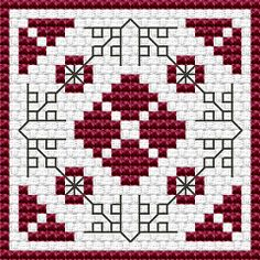 Wine Red Biscornu free cross stitch pattern