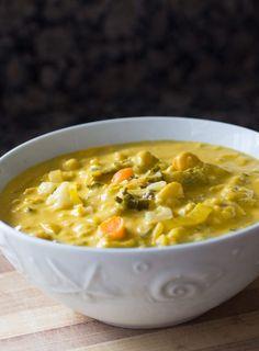 Dr. Fuhrman's Golden Austrian Cauliflower Cream Soup Recipe (video) | Nutritarian | Vegan - The Watering Mouth | Healthy Nutritarian Recipes, Vegan Food