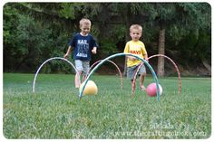 hula hoop croquet, fun for lil ones. Cut hula hoop's in half with saw. They fancied up the balls, but I'm not that ambitious. Could then use the hoops as part of a relay race