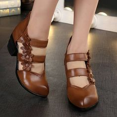 b50b5d793d7 Womens Chunke Heels Pointy Toes Pump Floral Lolita Back Zipper Casual Shoes