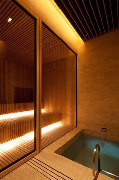 House - Mlinaric, Henry and Zervudachi Home Spa Room, Spa Rooms, Sauna Steam Room, Sauna Room, Chalet Design, House Design, Garden Design, Pool House Piscine, Spa Interior Design