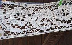 Victorian Home Decor Crocheted Lace Long Wide Off White Cotton French Shelf Edging Valance #sophieladydeparis
