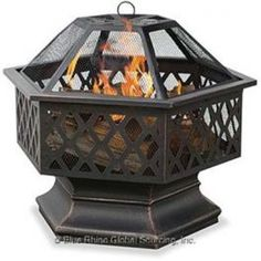 Hex Shaped Lattice Firepit  Blue Rhino Uniflame Hex-Shaped Lattice Fire pit with Oil Rubbed Bronze Finish, Rust Resistant Powder-Coated Frame