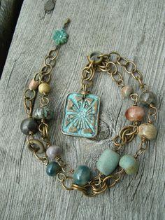 Field Flowers Handmade Bronze And Ceramic Necklace Ceramic Necklace, Ceramic Jewelry, Clay Jewelry, Metal Jewelry, Jewelry Art, Beaded Jewelry, Vintage Jewelry, Jewelry Necklaces, Jewelry Design