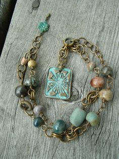 Field Flowers Handmade Bronze And Ceramic Necklace Ceramic Necklace, Ceramic Jewelry, Clay Jewelry, Metal Jewelry, Jewelry Art, Beaded Jewelry, Jewelry Bracelets, Jewelry Design, Fashion Jewelry