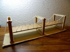 * Engineer - Simple Suspension Bridge Model and very interesting info on suspension bridges, including Galloping Gertie Stem Projects, School Projects, Projects For Kids, Diy For Kids, Science Projects, Engineering Projects, School Ideas, Popsicle Bridge, Popsicle Stick Bridges