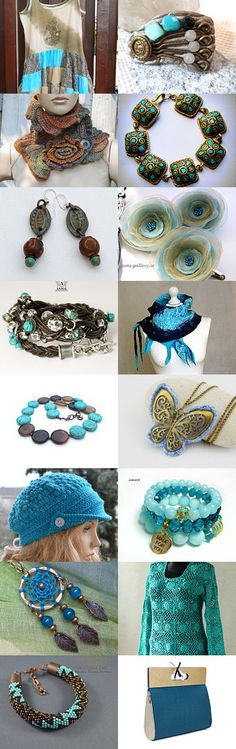 Turquoise   antique gold and beige - by POLetsy by poletsy on Etsy--Pinned with TreasuryPin.com