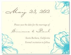 Floral Save the Date cards ~ Drawn Poppy (seeded paper),#uniquesavethedate,#plantablesavethedate,#seededpaper