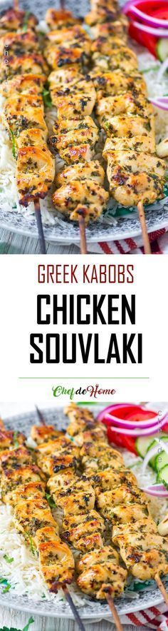 Chicken Souvlaki - Grilled Greek Chicken kabobs marinated in flavorful oregano, garlic marinade, served with side of grilled pita! #chickengrill