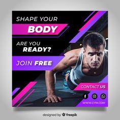 Gym club banner with photo Gym Banner, Sale Banner, Gym Advertising, Advertising Design, Gym Design, Fitness Design, Social Media Ad, Social Media Design, Gym Club