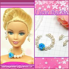 1 of 1 - handmade barbie doll jewelry set necklace earrings for barbie dolls accessories Diy Barbie Clothes, Barbie Clothes Patterns, Barbie Hair, Doll Clothes, Barbie Dolls For Sale, Barbie And Ken, Barbie Doll Accessories, Clothing Accessories, Barbies Pics