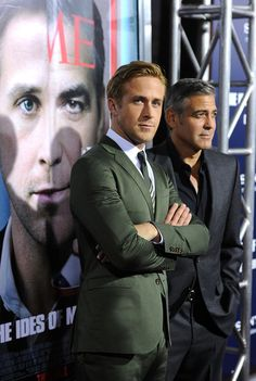 Ryan Gosling. He always wears the coolest colored suits! Green, bright blue, plum. NOT easy to pull off.