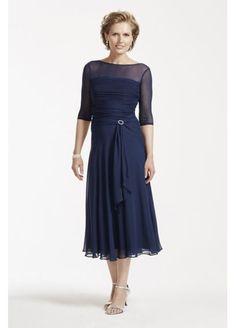 Tea Length Chiffon Dress with Pleated Bodice AWYEC23 Επίσημα Φορέματα 79995ced865