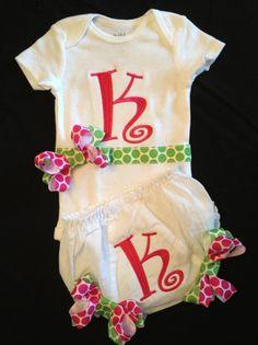 Custom Personalized Monogrammed Onesie  Bloomers...Bodysuit Diaper Cover for BaBy GiRl. $34.00, via Etsy.