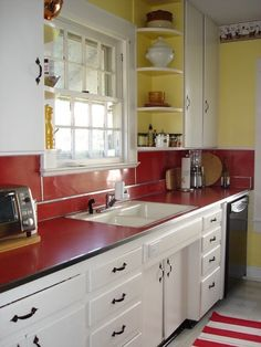 Red kitchen accents red kitchen accents vintage red laminate counter and in an original kitchen via yellow kitchen ideas red accent 1940s Kitchen, Vintage Kitchen Decor, Old Kitchen, Kitchen Redo, Country Kitchen, Wooden Kitchen, Kitchen Island, Red Kitchen Accents, Red And White Kitchen