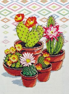Cactus Garden Cross Stitch Kit, Southwestern Style Best Picture For Cactus pink For Your Taste You are looking for something, and it is going to tell you exactly what you are lookin. Counted Cross Stitch Patterns, Cross Stitch Charts, Cross Stitch Embroidery, Embroidery Patterns, Hand Embroidery, Cross Stitching, Cactus Cross Stitch, Cross Stitch Needles, Cross Stitch Flowers