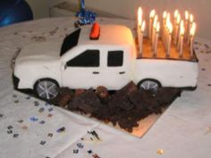 Pick up truck cake Pinning for idea of candles in truck bed