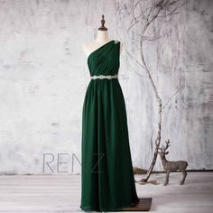 2016 Dark Green Bridesmaid dress, One Shoulder Illusion Wedding dress, Beading Sash Prom dress Backless, Formal dress floor length (H158) Women, Men and Kids Outfit Ideas on our website at 7ootd.com #ootd #7ootd