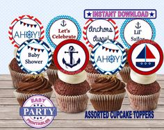 SALE Ahoy It's a boy cupcake toppers by EasyPartyPrintables,