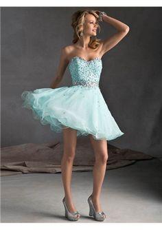 Ice Blue Short Prom Dresses