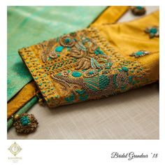 Highlights of this year . Beautiful mustard color designer blouse sleeve with floral design hand embroidery thread work. Hand Work Blouse Design, Simple Blouse Designs, Stylish Blouse Design, Aari Work Blouse, Wedding Saree Blouse Designs, Pattu Saree Blouse Designs, Blouse Designs Silk, Maggam Work Designs, Sleeve Designs